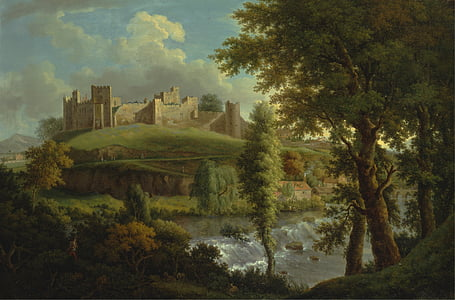 painting of palace on hill