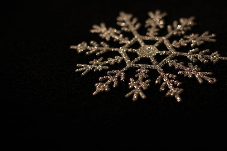 gold-colored snowflake decor