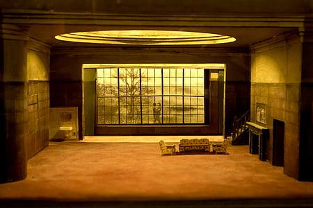 sofa inside brown room