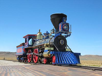 black and blue locomotive train