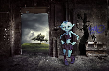 cartoon character wearing purple top, skirt, and boots wallpaper