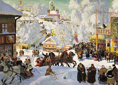russia, winter, wintry, carnival, painting, 1919