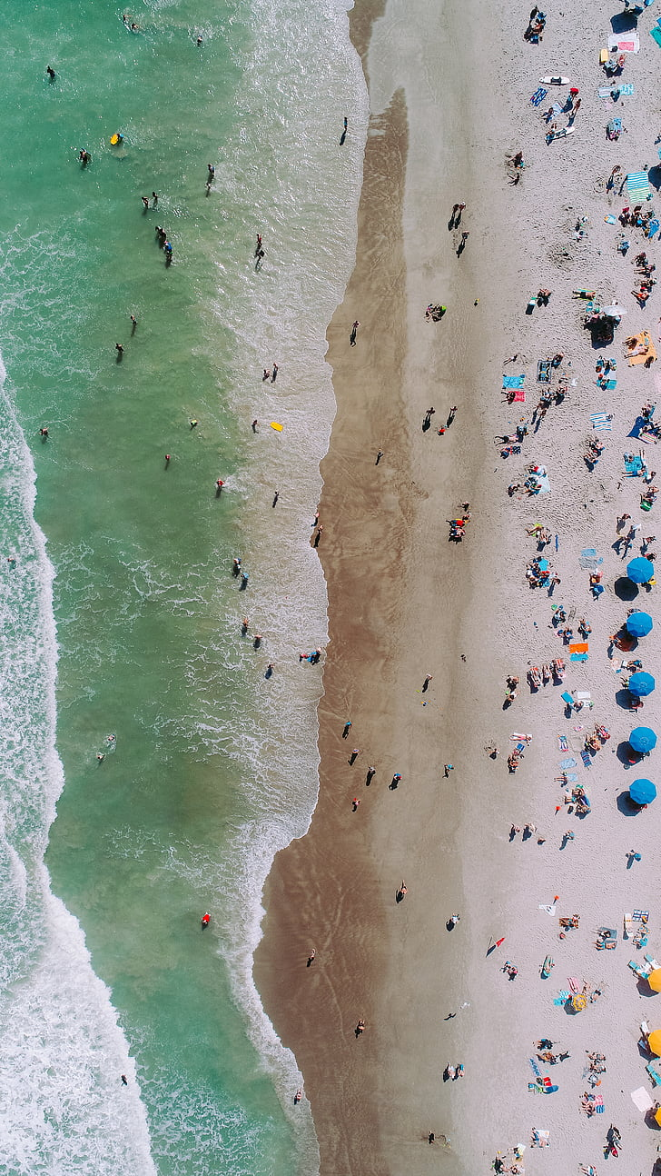 Aerial Photography Of People On Seashore At Daytime