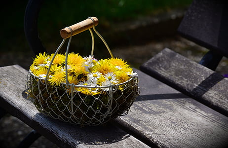yellow and white flowers in gray steel basket