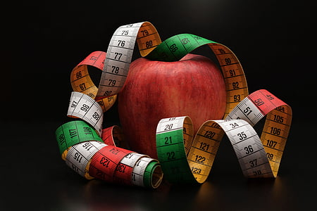 honeycrisp apple and tape measure