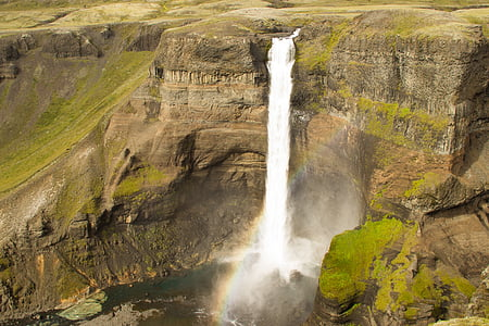 aerial photography waterfalls during daytime