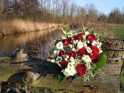 white and red rose bouquet on tree trunk