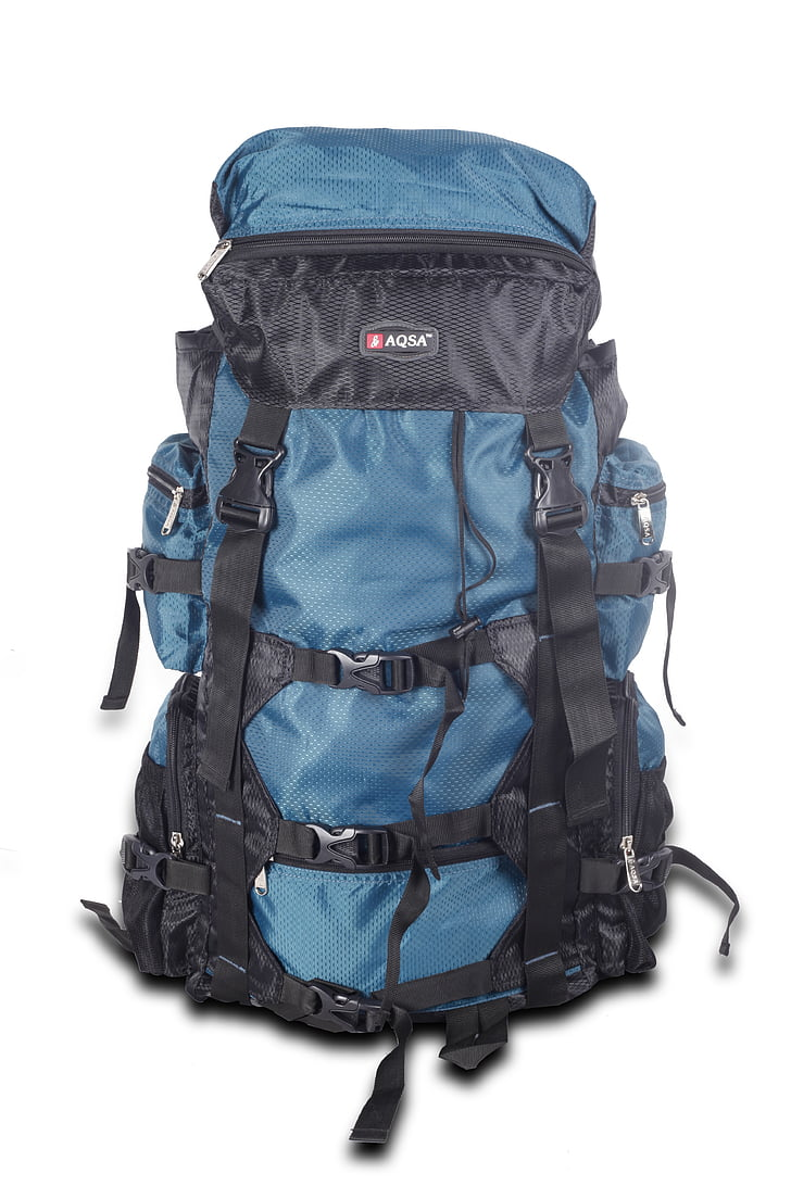 blue and black outdoor bag