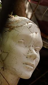 closeup of white head bust