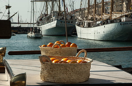 orange on brown wicker baskets