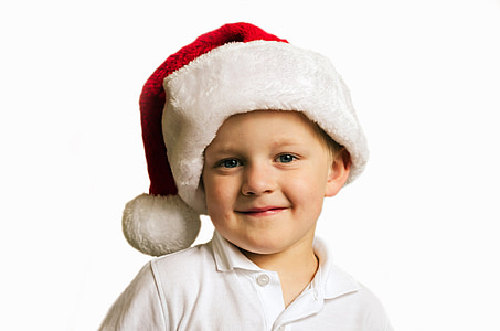 boy wearing Santa hat