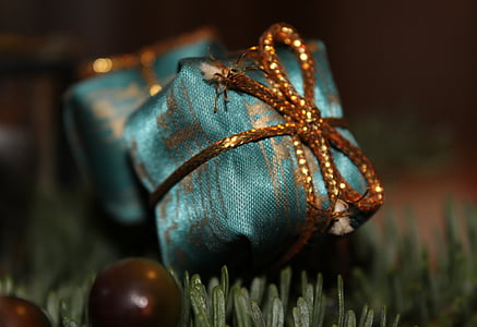 selective photography of green gift box