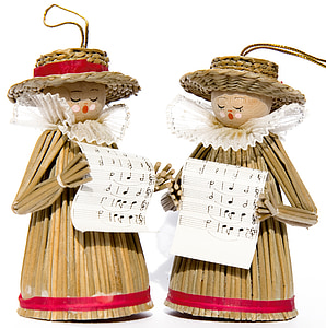 two brown wooden choir ornament