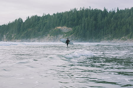 man holding surfboard walking on beach