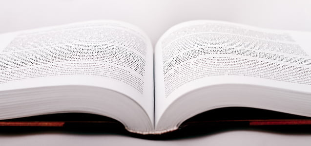 closeup photo of opened textbook on top of white surface