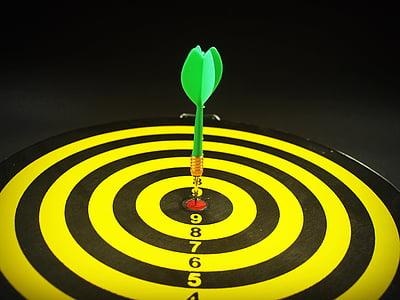 green dart pin on dartboard bullseye