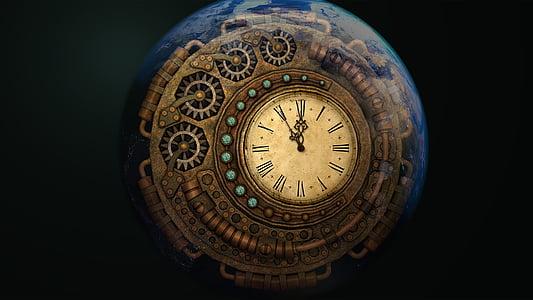 round brown wooden clock