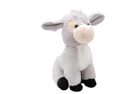 gray and white donkey plush toy