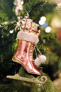 pink lace-up boot hanging miniature