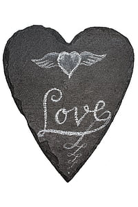 black heart-shaped stone decor