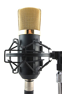 black and brass-colored microphone