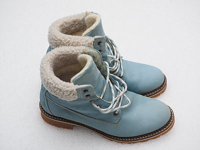 blue-and-white leather work boots