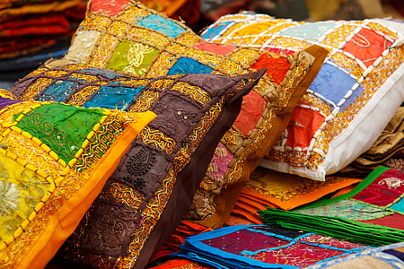 assorted-color throw pillows