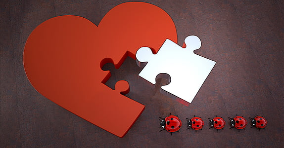 red and white puzzle heart illustration