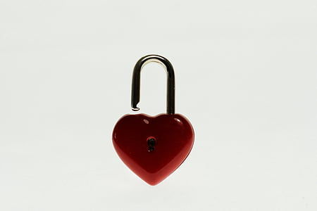 red and black heart lock