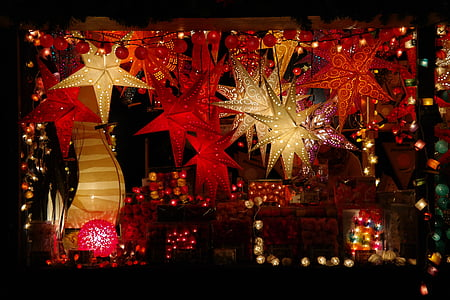 red and brown lighted star decor