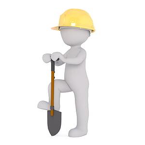 person wearing yellow hard hat holding shovel
