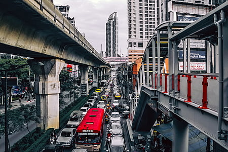 landscape photography of busy city streets
