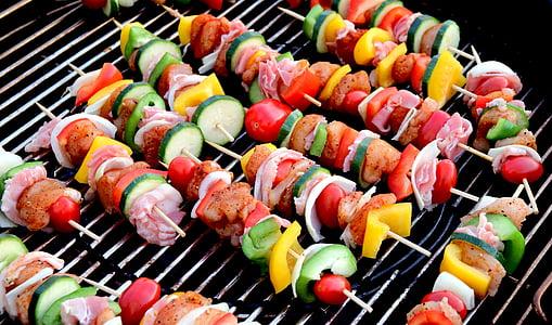 stick kebab on grilling machine