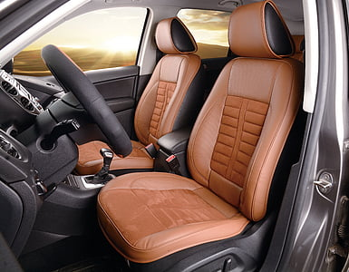 brown and black leather vehicle interior