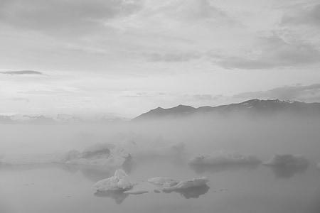 fog covered lake