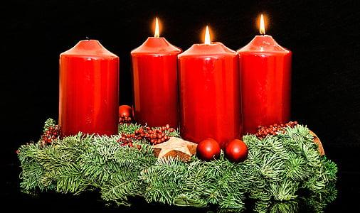 red pillar candles