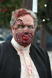 man doing zombie cosplay