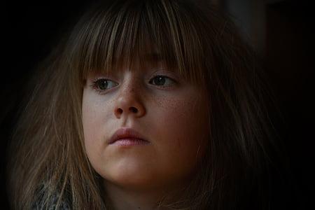 closeup photo of girl face