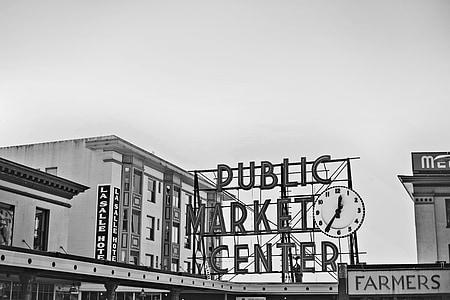 grayscale photo of PUBLIC MARKET CENTER signage