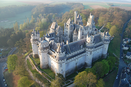 aerial photography of gray concrete castle