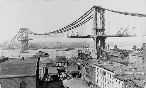 graycale photography of suspension bridge