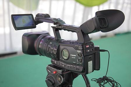 black Canon video camera