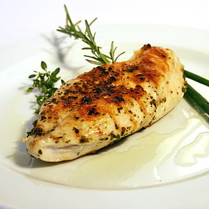 grilled chicken breast in white ceramic plate