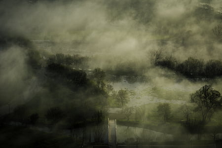 river, fog, steam, mist, landscape, morning