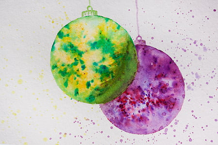 green and purple ornaments