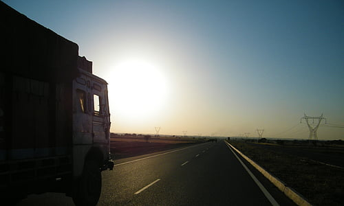 truck on asphalt road