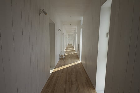 closeup photo of brown and white paint hallway