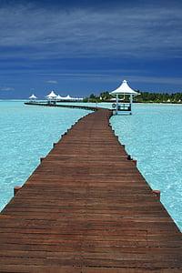 Maldives ocean dock graphic wallpaper