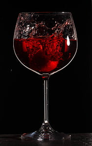 clear long-stem wine glass with red liquid
