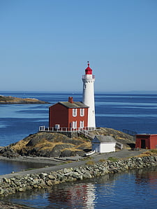 lighthouse, vancouver, canada, fisgard, sea, coastline